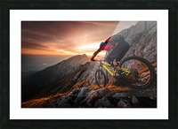 Golden hour high alpine ride Picture Frame print