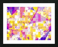 geometric square and triangle pattern abstract in pink yellow blue Picture Frame print