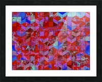 geometric square and triangle pattern abstract in red and blue Picture Frame print