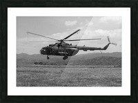 A Macedonian MI-17 helicopter landing as part of a medical transport flight. Picture Frame print