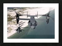 A CV-22 Osprey and an MH-53 Pave Low fly over the coastline of Florida. Picture Frame print