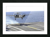 An E-2C Hawkeye makes its approach to the flight deck of USS Dwight D. Eisenhower. Picture Frame print
