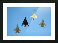 An F-22 Raptor an F-117 Nighthawk an F-4 Phantom and an F-15 Eagle in flight. Picture Frame print