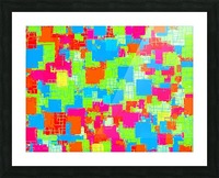 geometric square pattern abstract in green blue pink Picture Frame print