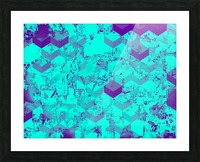geometric square pattern abstract in blue Picture Frame print