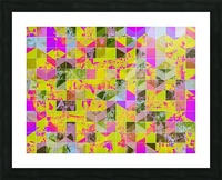 geometric square pattern abstract in yellow green pink Picture Frame print