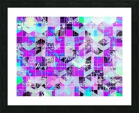 geometric square pattern abstract in purple blue Picture Frame print