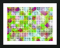 geometric square and circle pattern abstract in green pink Picture Frame print