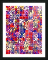 blooming flower with square pattern abstract in red and blue Picture Frame print