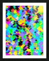 geometric square pixel pattern abstract in blue green yellow pink Picture Frame print