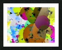 geometric circle pattern abstract in yellow brown pink green Picture Frame print