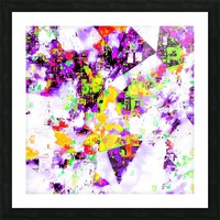 geometric triangle pattern abstract in purple yellow green Picture Frame print
