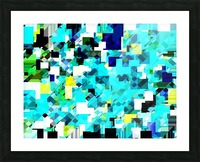 geometric square pixel pattern abstract in blue and yellow Picture Frame print
