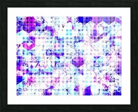 geometric square and circle pattern abstract background in pink blue Picture Frame print
