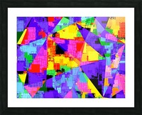 geometric triangle abstract background in purple blue pink yellow Picture Frame print