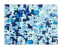 geometric square pixel pattern abstract background in blue Picture Frame print