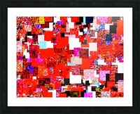 geometric square pixel pattern abstract in red blue pink Picture Frame print