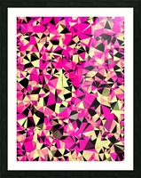 geometric triangle pattern abstract in pink and black Picture Frame print