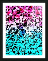 geometric triangle pattern abstract in pink blue black Picture Frame print