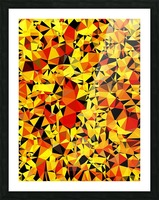 geometric triangle pattern abstract in orange yellow red Picture Frame print