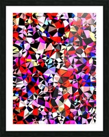 geometric triangle pattern abstract in red pink black blue Picture Frame print
