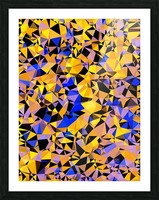 geometric triangle pattern abstract in orange blue yellow Picture Frame print