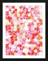 geometric triangle pattern abstract in pink red orange Picture Frame print