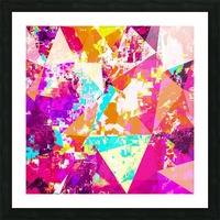 geometric triangle pattern abstract in pink blue purple Picture Frame print
