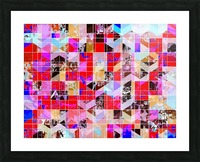 geometric square and triangle pattern abstract in red pink blue Picture Frame print