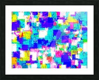 geometric square pattern abstract in blue pink yellow Picture Frame print