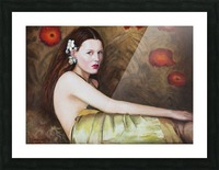 Woman with flowers for all season Picture Frame print