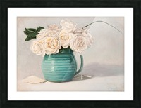 White roses in green pitcher 28 x 40 oil painting landscape 1 Picture Frame print