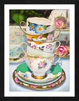 Cups and roses  still life oil painting  Picture Frame print