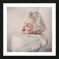 Marilyn in white mink  portrait 1 Picture Frame print