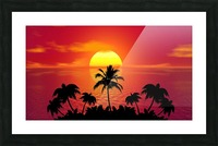 tropical sunset summer sun palm tree hot climate night Picture Frame print