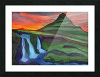 Mountain And Waterfall In The Rays Of The Setting Sun Picture Frame print