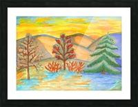 Winter landscape at sunset Picture Frame print