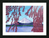 Sakura blooming on the background of a snowy mountain Picture Frame print