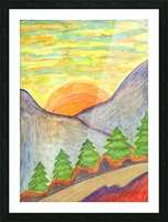 Winter solstice. Road to the mountains Picture Frame print