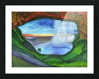 View from the cave to the waterfall Picture Frame print