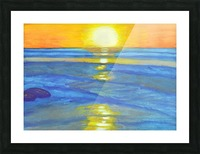 Sunset and ocean waves Picture Frame print