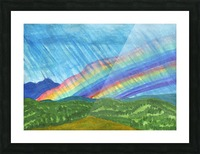 Double rainbow and rain in the mountains Picture Frame print