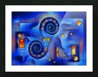 Grefenorium - blue spiral world Picture Frame print