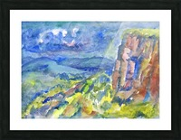Summer landscape with cliff Picture Frame print