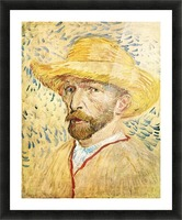 Self-Portait with straw hat by Van Gogh Picture Frame print