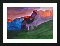 Snowy peaks of the mountains with a waterfall lit up by the orange dawn Picture Frame print