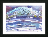 Winter bush by the river Picture Frame print