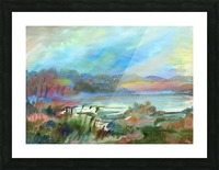 Beautiful misty morning on the lake Picture Frame print