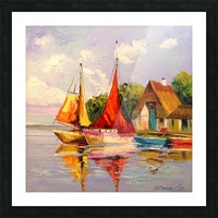 Sailboats near the shore Picture Frame print