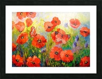 Poppies and butterflies Picture Frame print